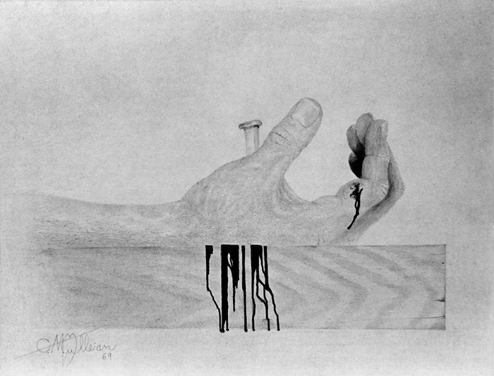 "1969 drawing by Mark Mulleian entitled ""Right Hand of Carpenter Apprentice"""