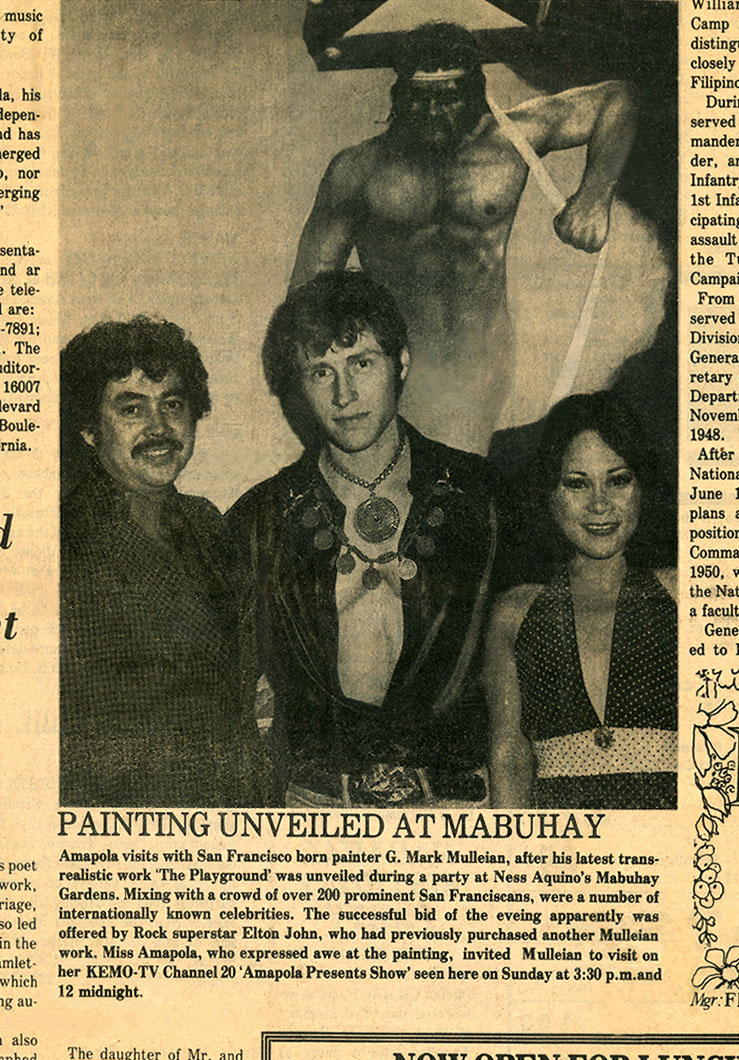 Philipine Press article on Singer Amapola, painter G. Mark Mulleian and Ness Aquino's of San Francisco's Mabuhay Gardens on Broadway in 1977
